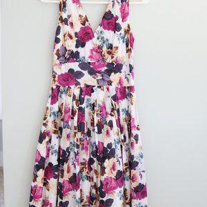 Purple and pink floral print sleeveless midi dress
